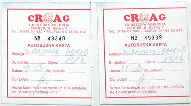 クロアチアのバスチケット