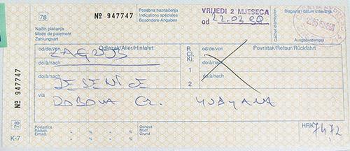 クロアチアの乗車券
